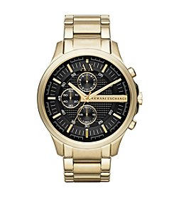 A|X Armani Exchange Goldtone Hampton Chronograph Watch with Black Dial