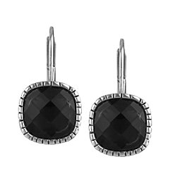 The Sak® Black/Silvertone Cushion Batik Leverback Earrings