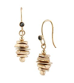 Kenneth Cole® Goldtone & Hematite Stacked Geometric Bead Drop Earrings