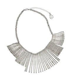 Erica Lyons® Silvertone Stick Fringe Front Necklace