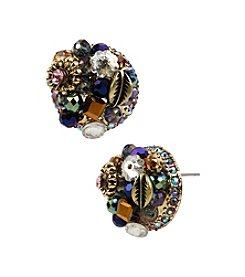 Betsey Johnson® Purple Multicolor Woven Cluster Round Stud Earrings