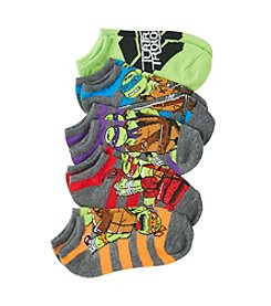 Nickelodeon® Boys' Grey Ninja Turtles Striped No-Show Socks