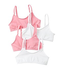 Jockey® Girls' White/Pink 4-pk. Crop Top Bras