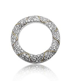 0.50 ct. t.w. Pave Diamond Sterling Silver Circle Pendant with 10K Gold Accents