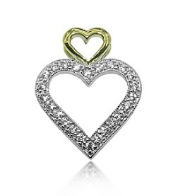 0.25 ct. t.w. Diamond Sterling Silver Double Heart Pendant with 10K Gold Accents