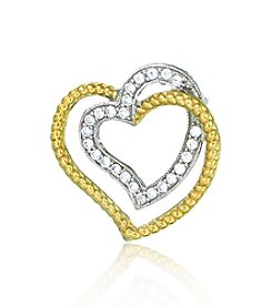 0.25ct t.w. Diamond Sterling Silver Double Heart Pendant with 10K Gold Accents