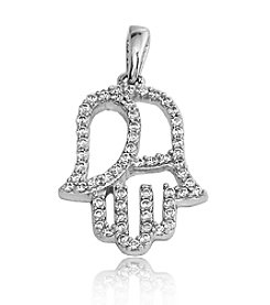 0.25 ct. t.w. Diamond Sterling Silver Hand of Fatima Pendant