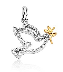 0.25 ct. t.w. Diamond Sterling Silver Dove Pendant with 10K Gold Accents