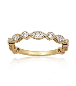 0.33 ct. t.w. Diamond 10K Gold over Silver Stack Ring