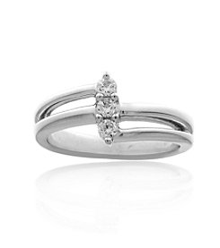 0.18ct t.w. Diamond Sterling Silver Split Bypass Ring