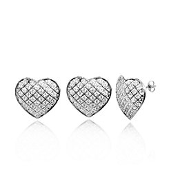 0.25ct t.w. Pave Diamond Sterling Silver Heart Earrings