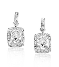 0.33ct t.w. Diamond Sterling Silver Rectangular Estate Drop Earrings