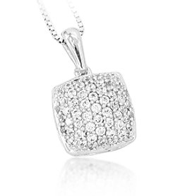 0.25ct t.w. Diamond Pave Domed Square Sterling Silver Pendant