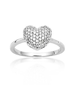 0.25 ct. t.w. Diamond Pave Sterling Silver Heart Ring