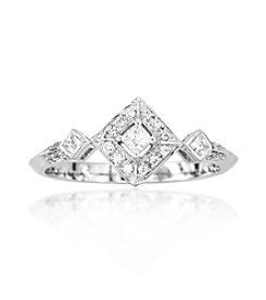 0.18 ct. t.w. Three Diamond Princess Sterling Silver Ring
