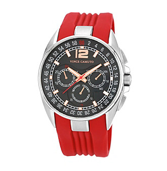 Vince Camuto Men's Multi-Function Red Silicone Strap Watch