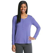 HUE® Knit Henley Top - Blue Iris