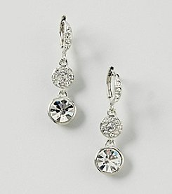 Givenchy® Silvertone Pave Drop Earrings