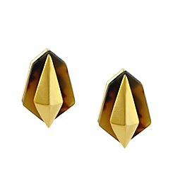 Vince Camuto™ Goldtone/Tortoiseshell Resin Clip Earrings