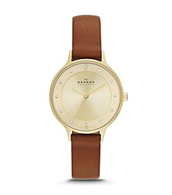 Skagen Denmark Women's Anita Watch in Saddle Leather with Goldtone Case