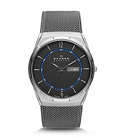 Skagen Denmark Men's Titanium Mesh Watch with Blue Accents