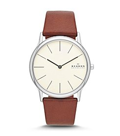 Skagen Denmark Men's Saddle Leather Watch with Eggshell Dial