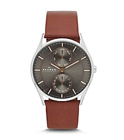 Skagen Denmark Men's Saddle Leather Multifunction Watch with Rose Goldtone Accents