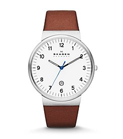 Skagen Denmark Men's Saddle Leather Watch with Arabic Numbers