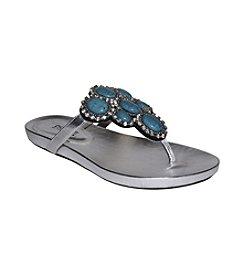 """DOLCE by Mojo Moxy® """"Malta"""" Jeweled Flip Flops - Silver"""