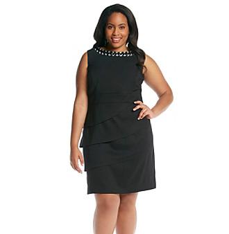 Connected Plus Size Solid Little Black Dress Women's