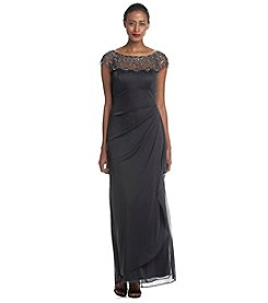Xscape Long Dress With Illusion Beaded Top