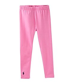Ralph Lauren Childrenswear Girls' 2T-4T Pink Stretch Cotton Jersey Leggings