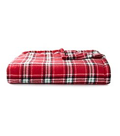 LivingQuarters Red Plaid Print Micro Cozy Throw