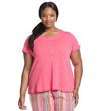 HUE® Plus Size Knit Henley Top - Fandango Pink