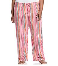 HUE® Plus Size Pink/Multi Knit Pants - Endless Stripe
