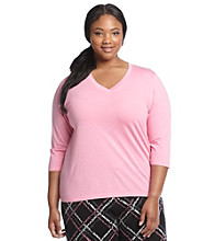 HUE® Plus Size Knit 3/4 Sleeve Top - Aurora Pink