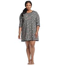 HUE® Plus Size Black/Multi Knit Henley Sleepshirt - Flower Chain