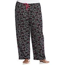 HUE® Plus Size Knit Pants - Black Flower Script