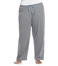 HUE® Plus Size Knit Pants - Grey/Blue Rio Dots