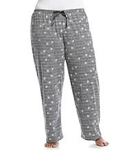 HUE® Plus Size Knit Pants - Grey Flower Script