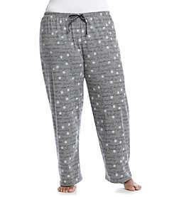 HUE® Plus Size Knit Pants - Grey Flower Script