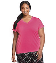 HUE® Plus Size Knit Classic V-Neck Top - Fuchsia