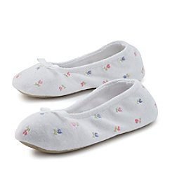 Isotoner® Signature Terry Embroidered Ballerina Slippers