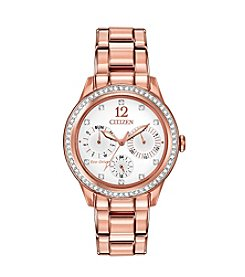 Citizen® Eco-Drive Women's Pink Goldtone Silhouette Crystal Watch