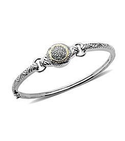 0.12 ct. t.w. Diamond Bangle Bracelet in Sterling Silver/14K
