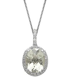 Green Amethyst & White Topaz Pendant Necklace in Sterling Silver