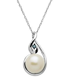 Freshwater Pearl & 0.07 ct. t.w. Diamond Pendant Necklace in Sterling Silver