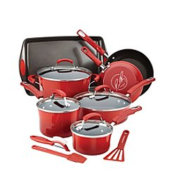 Rachael Ray® 14-pc. Red Hard Enamel Nonstick Cookware Set