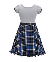 Bonnie Jean® Girls' 4-6X Blue Ottoman Striped Bodice with Plaid Skirt