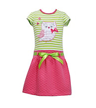 Bonnie Jean® Girls' 4-6X Green Striped Owl Tee with Pink Quilted Skirt